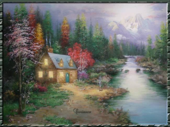 Маленький домик стоит у реки